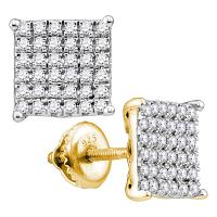 10kt Yellow Gold Womens Round Diamond Square Cluster Stud Earrings 3/4 Cttw