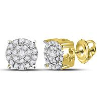 10kt Yellow Gold Womens Round Diamond Cindys Dream Cluster Earrings 1/5 Cttw