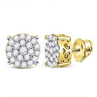 10kt Yellow Gold Womens Round Diamond Cindy\'s Dream Cluster Earrings 1/2 Cttw