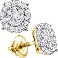 10kt Yellow Gold Womens Round Diamond Cindy\'s Dream Cluster Earrings 1.00 Cttw