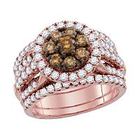 14kt Rose Gold Womens Round Brown Diamond Cluster 3-Piece Bridal Wedding Engagement Ring Band Set 2.00 Cttw