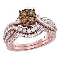 14kt Rose Gold Womens Round Brown Diamond Cluster Bridal Wedding Engagement Ring Band Set 1.00 Cttw