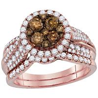 14kt Rose Gold Womens Round Cognac-brown Color Enhanced Diamond Bridal Wedding Engagement Ring Band Set