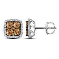 14kt White Gold Womens Round Cognac-brown Color Enhanced Diamond Square Cluster Earrings 1.00 Cttw