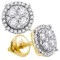 10kt Yellow Gold Womens Round Diamond Cindy\'s Dream Cluster Earrings 1/4 Cttw