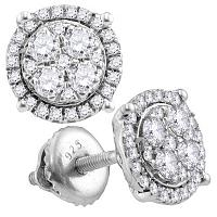 10kt White Gold Womens Round Diamond Circle Cluster Earrings 1/2 Cttw