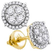 10kt Yellow Gold Womens Round Diamond Circle Cluster Earrings 1.00 Cttw