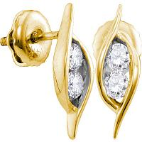 14kt Yellow Gold Womens Round Diamond 2-stone Hearts Together Screwback Stud Earrings 1/4 Cttw