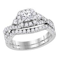 14kt White Gold Womens Princess Diamond Solitaire Halo Bridal Wedding Engagement Ring Band Set 1-1/2 Cttw