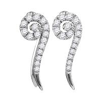 10kt White Gold Womens Round Diamond Curled Vertical Stud Earrings 1/4 Cttw