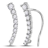 10kt White Gold Womens Round Diamond Graduated Journey Climber Earrings 1/4 Cttw