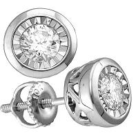 10kt White Gold Womens Round Diamond Solitaire Stud Earrings 1/2 Cttw