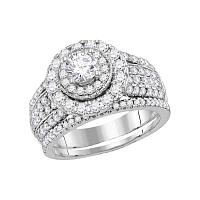 14kt White Gold Womens Round Diamond Bridal Wedding Engagement Ring Band Set 2.00 Cttw