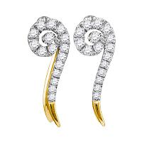 10kt Yellow Gold Womens Round Diamond Curled Stud Earrings 1/4 Cttw