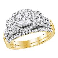 14kt Yellow Gold Womens Round Diamond Bridal Wedding Engagement Ring Band Set 1.00 Cttw