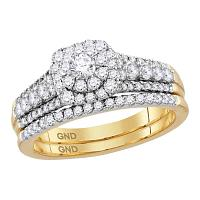 14kt Yellow Gold Womens Diamond Round Bridal Wedding Engagement Ring Band Set 1.00 Cttw