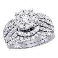 14kt White Gold Womens Round Diamond Halo Bridal Wedding Engagement Ring Band Set 1-3/4 Cttw