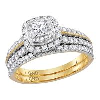 14kt Yellow Gold Womens Princess Diamond Certified Milgrain Halo Bridal Wedding Engagement Ring Band Set 1.00 Cttw