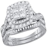 14kt White Gold Womens Princess Diamond Cluster Halo Bridal Wedding Engagement Ring Band Set 1.00 Cttw