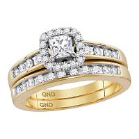 14kt Yellow Gold Womens Diamond Princess EGL Bridal Wedding Engagement Ring Band Set 3/4 Cttw