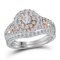 14kt Two-tone Gold Womens Round Diamond Bridal Wedding Engagement Ring Band Set 1-1/4 Cttw