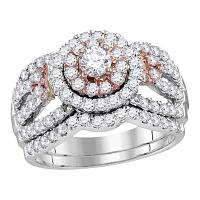 14kt White Rose 2-tone Gold Womens Round Diamond Halo Bridal Wedding Engagement Ring Band Set 1-1/2 Cttw