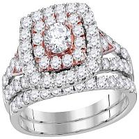 14kt White Gold Womens Round Diamond Double Halo Rose-tone Bridal Wedding Engagement Ring Band Set 2.00 Cttw