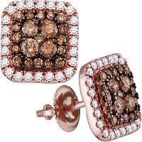 14kt Rose Gold Womens Round Brown Diamond Square Frame Cluster Earrings 1.00 Cttw