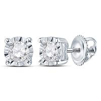 10kt White Gold Womens Round Diamond Solitaire Stud Earrings 1/3 Cttw