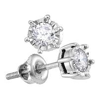 10kt White Gold Womens Round Diamond Solitaire Screwback Stud Earrings 1/4 Cttw