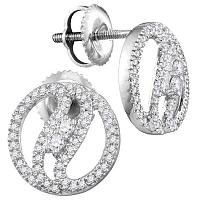 10kt White Gold Womens Round Diamond 2-stone Circle Stud Earrings 1/4 Cttw