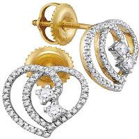 10kt Yellow Gold Womens Round Diamond 2-stone Heart Earrings 1/4 Cttw