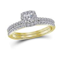14kt Yellow Gold Womens Round Diamond Halo Bridal Wedding Engagement Ring Band Set 3/4 Cttw