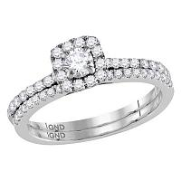 14kt White Gold Womens Round Diamond Slender Halo Bridal Wedding Engagement Ring Band Set 3/4 Cttw (Certified)