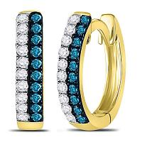 10kt Yellow Gold Womens Round Blue Color Enhanced Diamond Huggie Earrings 1/5 Cttw