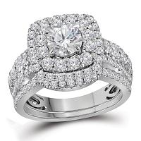 14kt White Gold Womens Round Diamond Certified Halo Bridal Wedding Engagement Ring Band Set 2-1/2 Cttw