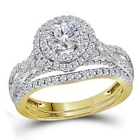 14kt Yellow Gold Womens Round Diamond Halo Bridal Wedding Engagement Ring Band Set 1-3/4 Cttw