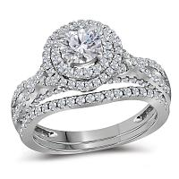 14kt White Gold Womens Round Diamond Double Halo Bridal Wedding Engagement Ring Band Set 1-3/4 Cttw