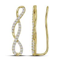 10kt Yellow Gold Womens Round Diamond Climber Earrings 1/2 Cttw