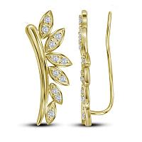 10kt Yellow Gold Womens Round Diamond Floral Climber Earrings 1/4 Cttw