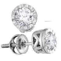 14kt White Gold Womens Round Diamond Solitaire Screwback Stud Earrings 3/4 Cttw