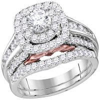 14kt White Gold Womens Round Diamond Bellissimo Bridal Wedding Engagement Ring Band Set 2-1/20 Cttw