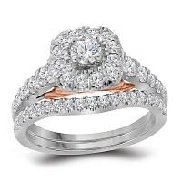 14kt White Gold Womens Round Diamond Bellissimo Bridal Wedding Engagement Ring Band Set 1.00 Cttw