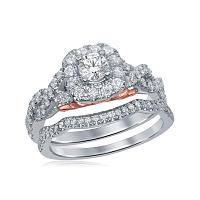 14k White Gold Womens Round Diamond Bellissimo Bridal Wedding Twist Ring Band Set 1.00 Cttw (Certified)