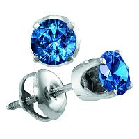 14kt White Gold Womens Round Blue Color Enhanced Diamond Solitaire Stud Earrings 1.00 Cttw
