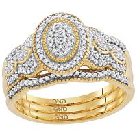 10kt Yellow Gold Womens Diamond Oval Cluster Milgrain 3-Piece Bridal Wedding Engagement Ring Band Set 3/8 Cttw