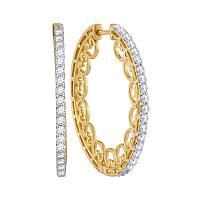 10kt Yellow Gold Womens Round Diamond Single Row Luxury Hoop Earrings 1.00 Cttw