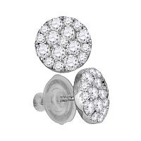 14kt White Gold Womens Round Diamond Cluster Earrings 1.00 Cttw
