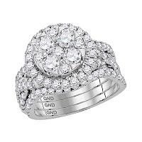 14kt White Gold Womens Round Diamond Bridal Wedding Engagement Ring Band Set 2-1/2 Cttw