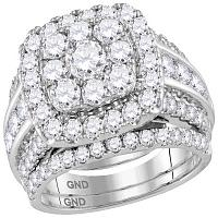 14kt White Gold Womens Round Diamond Halo Bridal Wedding Engagement Ring Band Set 4.00 Cttw